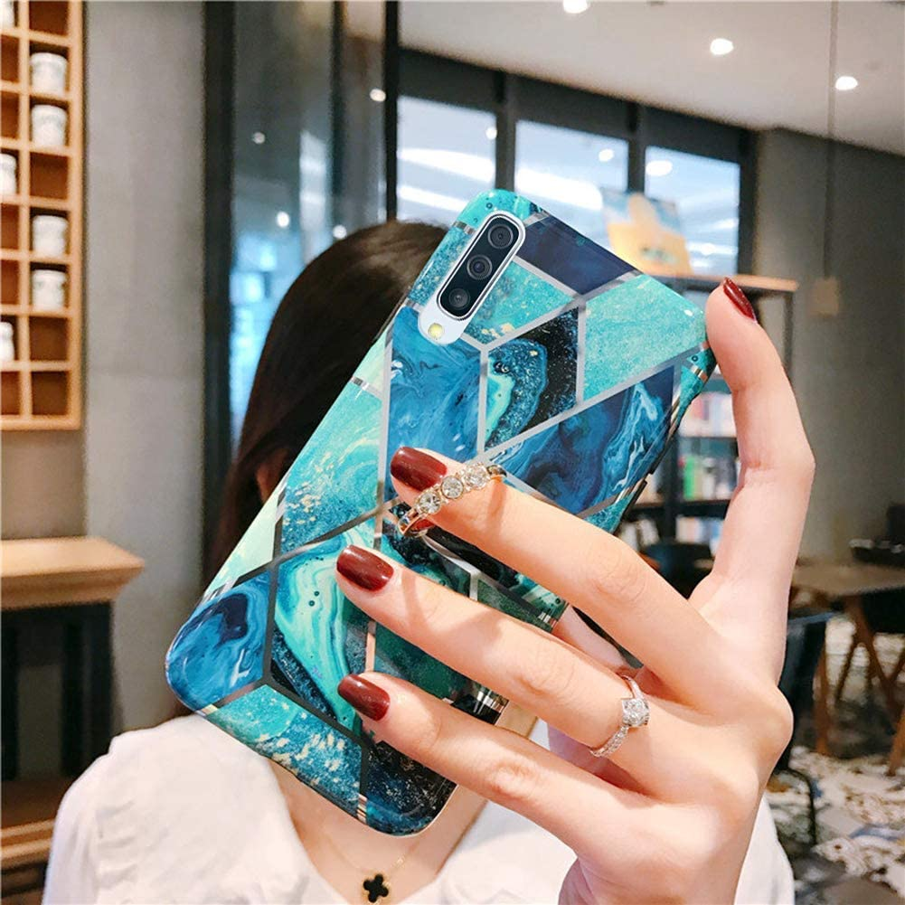 Herbests Kompatibel mit Huawei P30 H/ülle Handyh/ülle Marmor Muster Gl/änzend Glitzer Bling Weich Silikon H/ülle Kratzfest Schutzh/ülle Tasche Crystal Case Ring Halter St/änder,Rose Gold