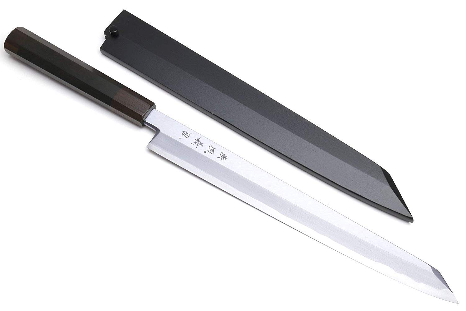 Yoshihiro Blue Steel Aonamiuchi Yanagi Kiritsuke Japanese Sashimi Sushi Knife Ebony Handle with Lacquered Saya Cover (9.5'' (240mm))
