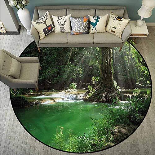 Non-Slip Round Rugs,Nature,Tropical Forest with Cascade,Anti-Slip Doormat Footpad Machine - Cascade Foyer