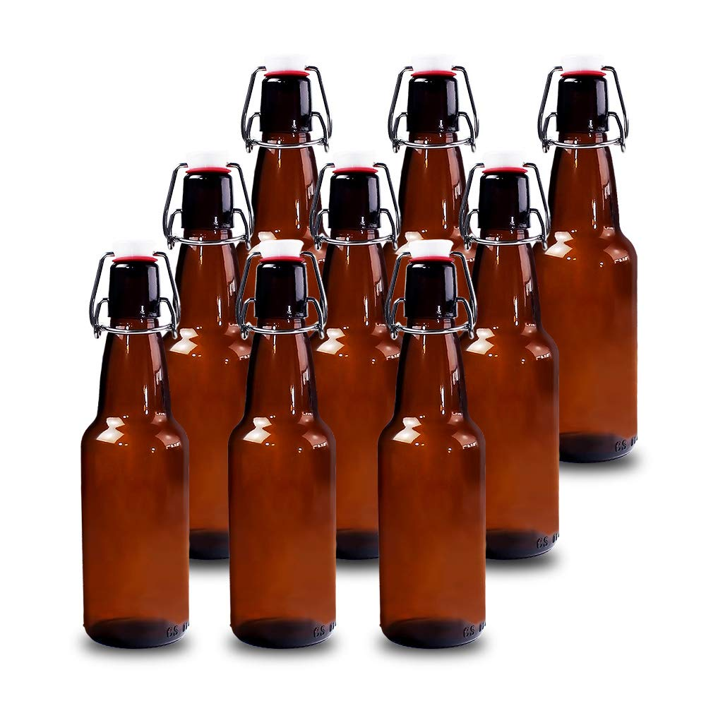 YEBODA 12 oz Amber Glass Beer Bottles for Home Brewing with Flip Caps, Case of 9