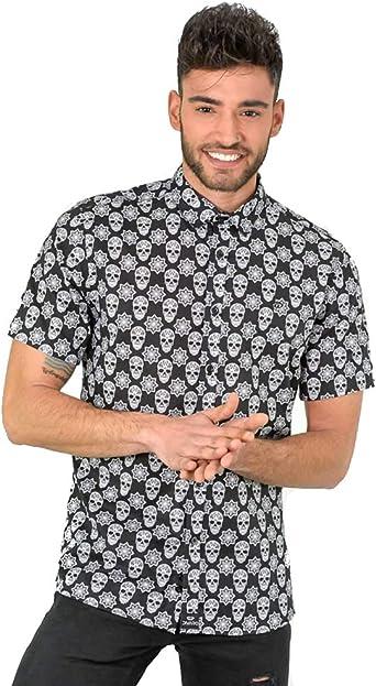 DIVARO - Camisa Estampado Calaveras Manga Corta Color Negro - para Hombre: Amazon.es: Ropa y accesorios