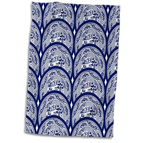 - 3dRose Russ Billington Patterns - Overlapping Willow Pattern Plates in Blue and White - 15x22 Hand Towel (TWL_294407_1)