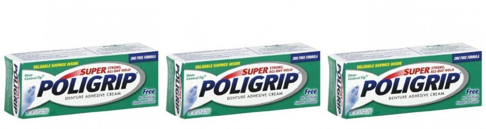 Super Poligrip Denture Adhesive Cream 0.75 Oz Travel Size (Pack of 3)