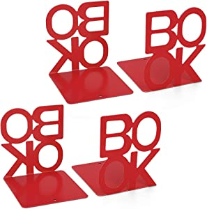 Metal Bookends, Book Ends Letter Pattern Book Ends for Shelves Office Decorative, Nonskid Book Stopper for Books, DVD, Video Games, Maganize,Red 4.9 x 5.1 x 5.5inch, 2Pair/4Piece