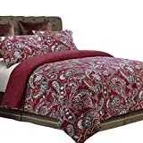NTBAY 3 Pieces Duvet Cover Set Brushed Microfiber Paisley Printed Pattern Reversible Design with Hidden Zipper, Red, King Size