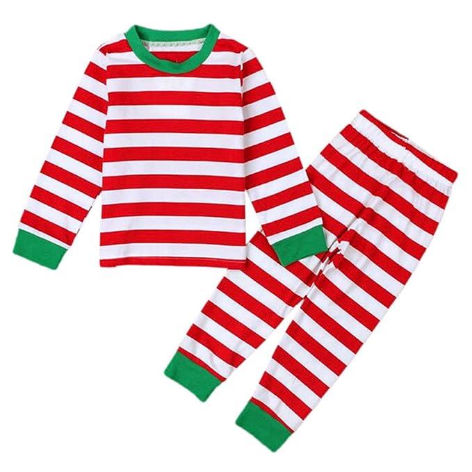 Hzjundasi 2 Pcs A rayas Conjuntos de pijamas Navidad Algodón Chicos Chicas Ropa de dormir Manga