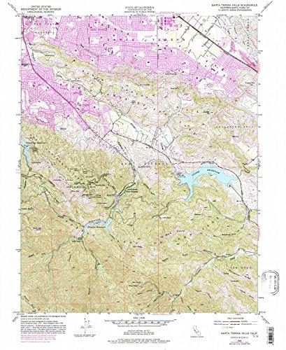 YellowMaps Santa Teresa Hills CA topo map, 1:24000 Scale, 7.5 X 7.5 Minute, Historical, 1953, Updated 1981, 26.9 x 22 in - ()
