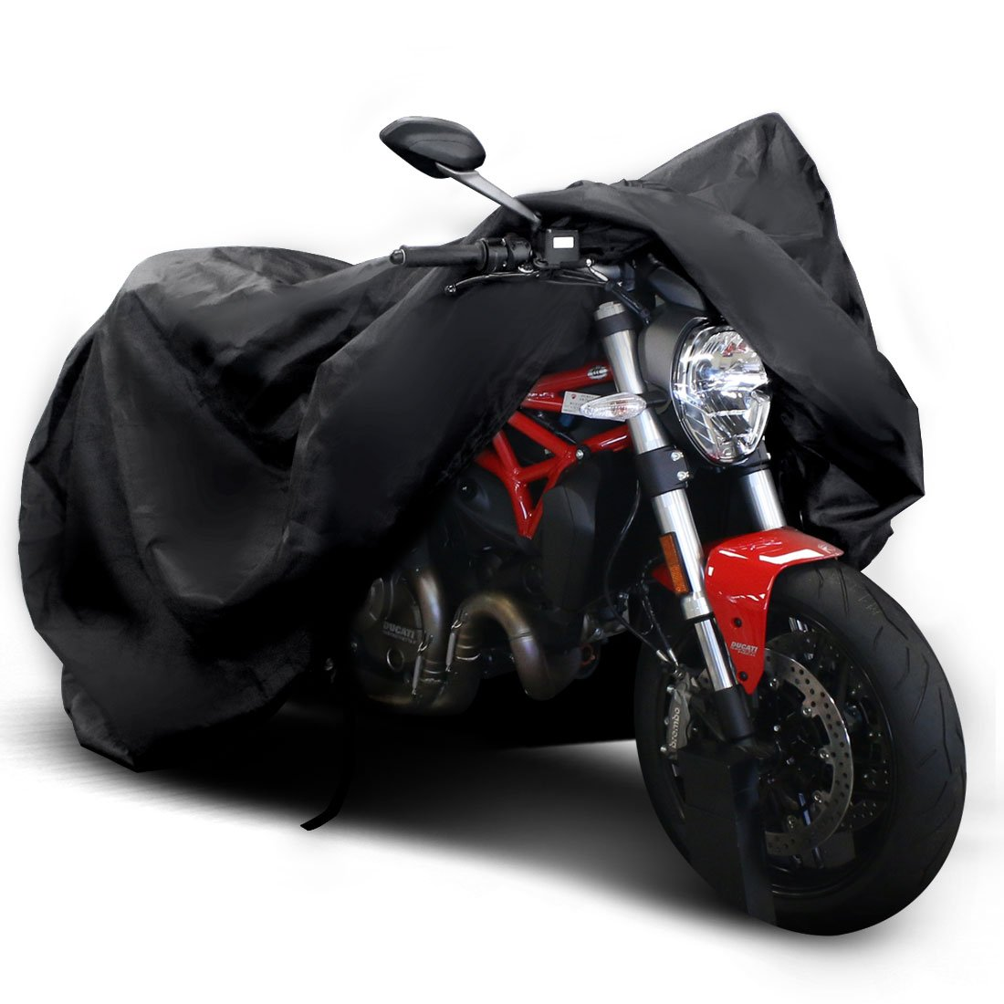 "Copap Black Motorcycle Cover 150D Durable Waterproof Motorcycle Cover All-Weather Protection with 7.87"" Reflective Stripe, Bottom Buckle & Lockholes Included"