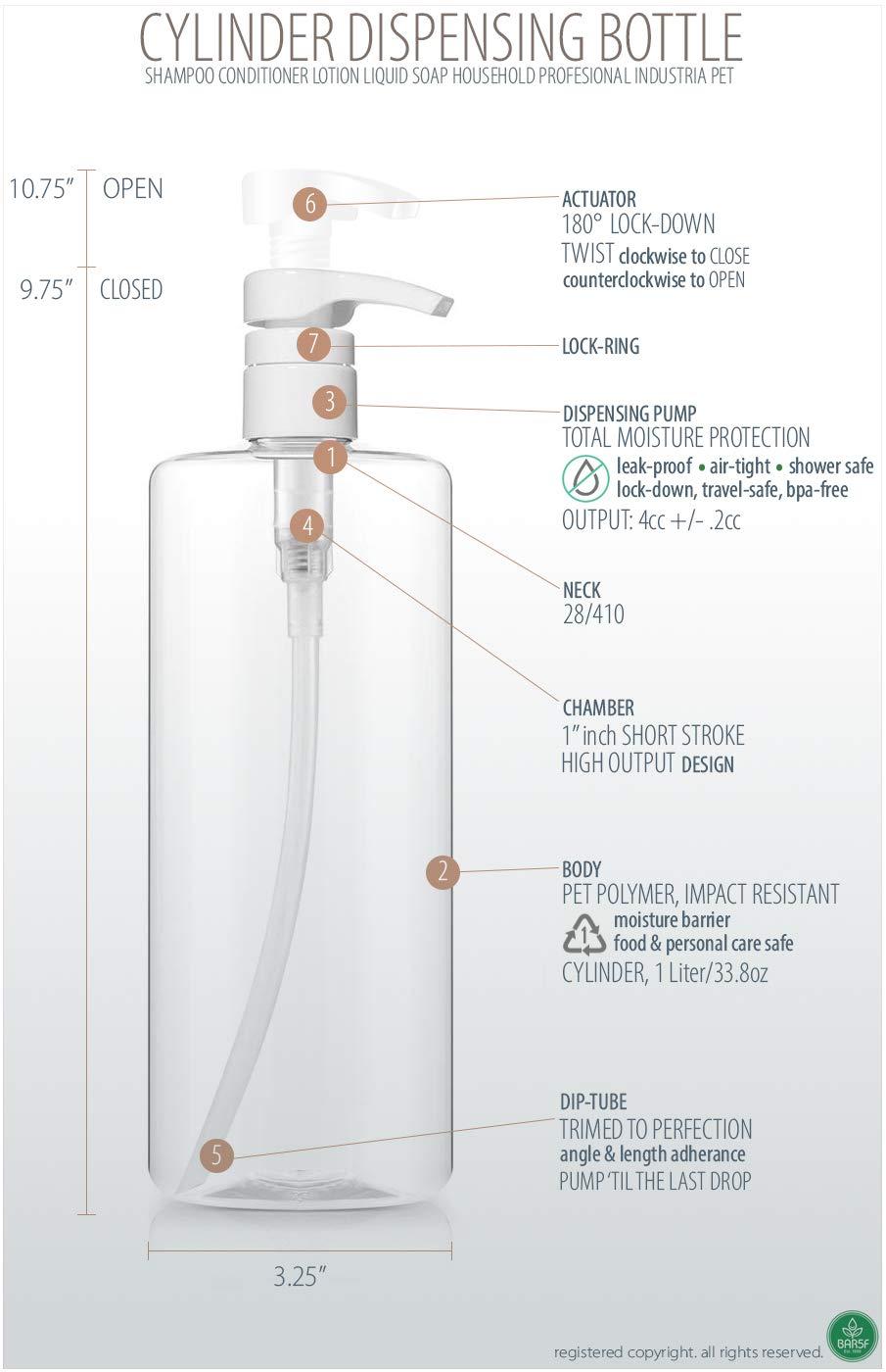 32oz Cylinder PETE1 Pack of 3 1Liter Plastic Empty Shampoo Pump Bottles BPA-FREE