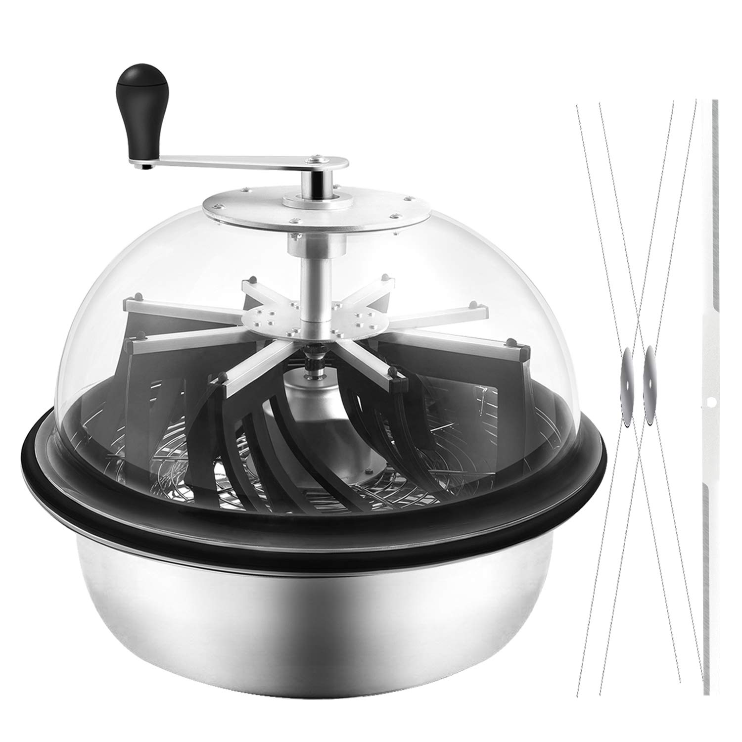 VIVOSUN 16 inch Bud Leaf Bowl Trimmer - Clear Visibility Dome, Sharp Stainless Steel Blades for Spin Cut & Solid Metal Gear Box, Portable & Easy to Clean