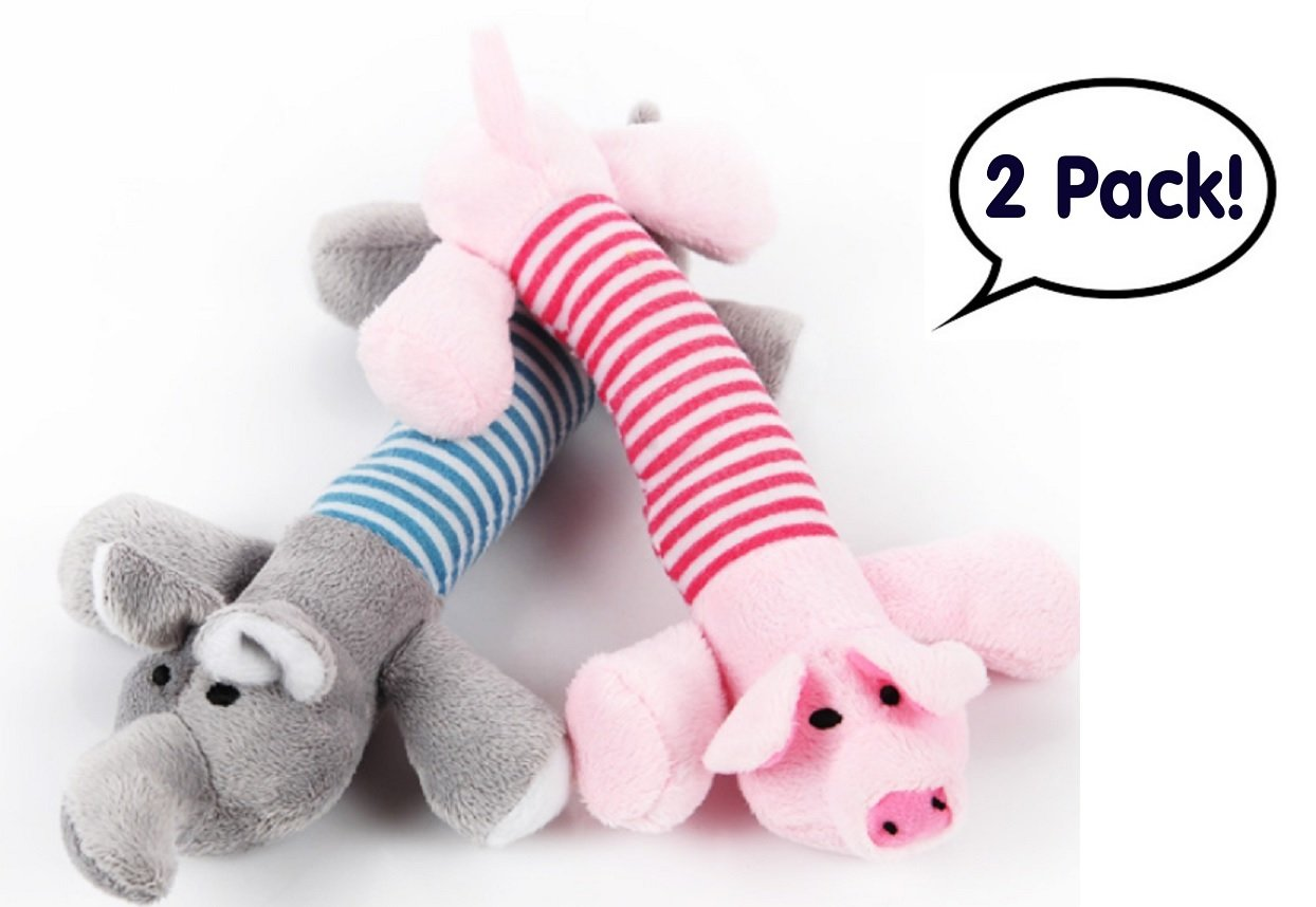 2- Pack Pet Dog Squeaky Chew Toy Plush Sound Pig & Elephant Toy