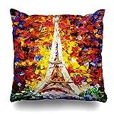 "Soopat Decorative Throw Pillow Cover Square Cushion 18""X18"" Watercolor Famous Oil Painting Tower Eiffel Paris Colorful Pillowcase Home Decor Kitchen Garden Sofa"