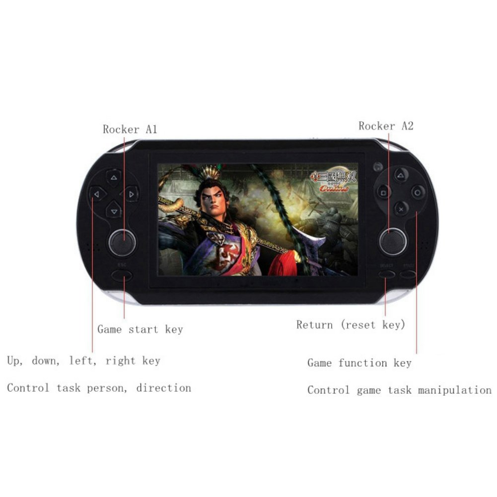 Wenasi 4.3inch 8GB Handheld Game Console with Dual Joystick,mp5 mp3 mp4 Player Camera FM TV-Out (Black) by Wenasi (Image #2)