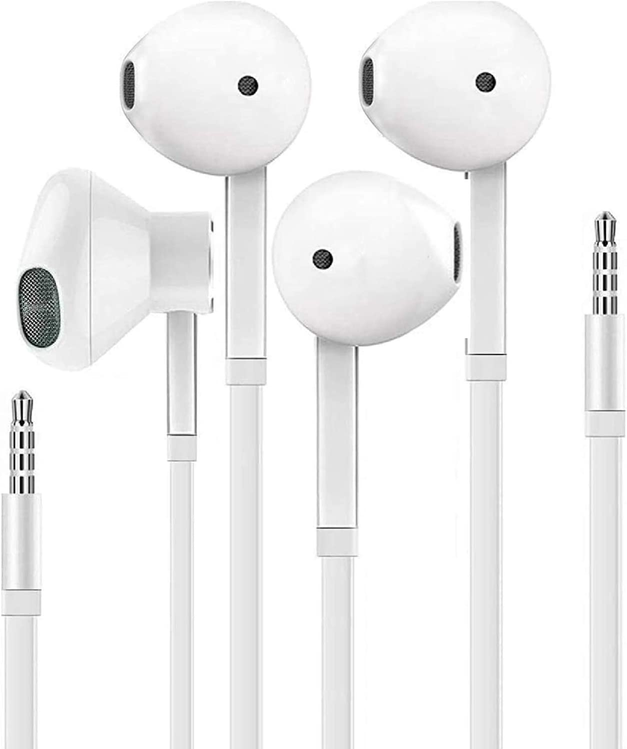 Samsung/Apple Earbuds(2 Pack) Wired 3.5mm White Headset with Microphone, Volume Control, and Call Answer End Button for iPhone,iPad,Samsung,Compter,MP3/4,Android Phone etc[Apple MFi Certified]