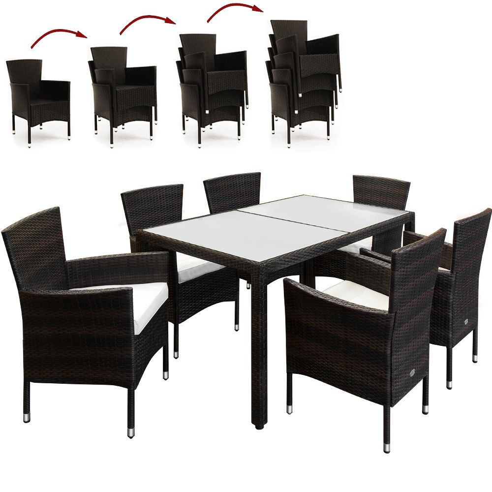 SSITG Poly Rattan Sitzgruppe Gartengarnitur Sitzgarnitur Gartenmöbel  Gartenset 6+1 Online Kaufen