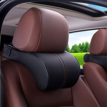 Auto Car Seat Headrest Head Pillow Neck Rest Back Lumbar Support Cushion Slow Rebound Springback Memory
