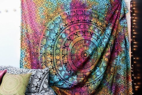 New launched Popular Handicrafts Kp639 tie dye Hippie Tapestry wall hanging Beach Throw mandala Wall Art College Dorm Bohemian tapestries Wall Hangings 215X230 Cms