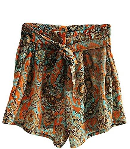 Pengmma Summer Floral Printed High Waist Chiffon Skirts Shorts
