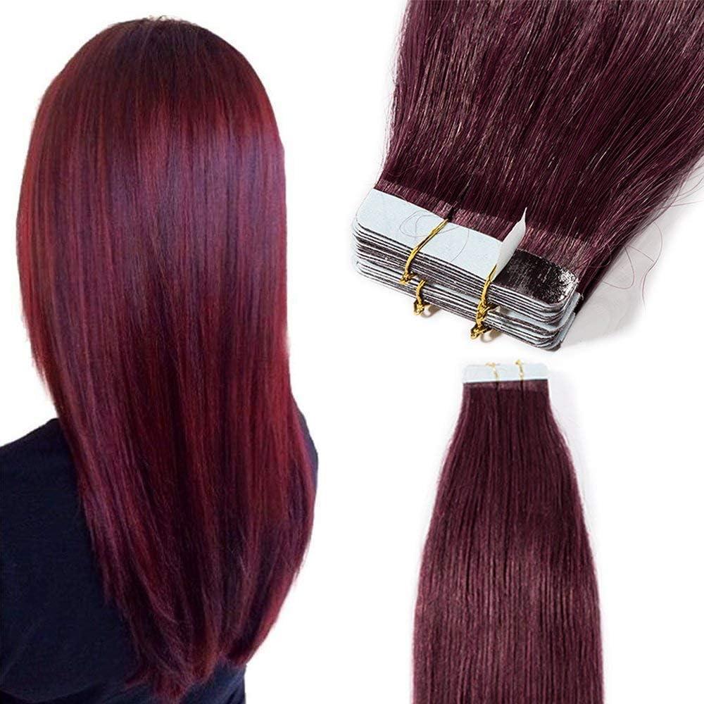 Elailite Extensiones Adhesivas Pelo Natural Rojo 40 Piezas sin Clip 100% Cabello Humano Liso con Tape 35cm (80 g) #99J Borgoña