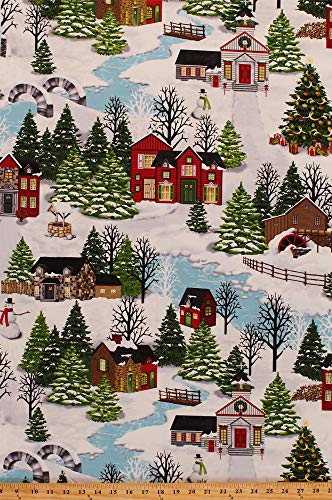 - Cotton Christmas Village Cozy Scene Houses Bridges Pines Snowmen Snowy Hills Holiday Winter Cotton Fabric Print by the Yard (4248-11)
