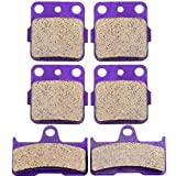 Kevlar Carbon Fiber Brake Pads ECCPP Motorcycle Replacement Front and Rear Braking Pads Kits Set for 2003-2008 Yamaha YFM 660 Grizzly Hunter