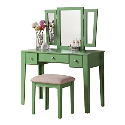 Fabulous Poundex Bobkona Adar Vanity Set With Stool Apple Green Pabps2019 Chair Design Images Pabps2019Com