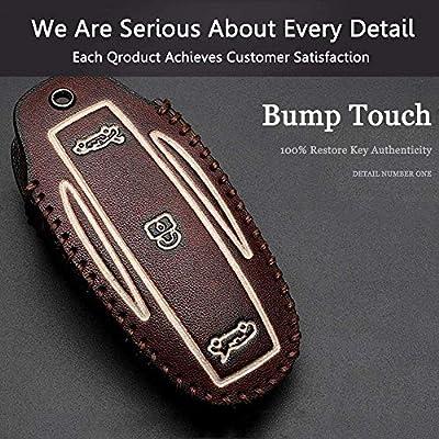 SailMLs Tesla Model X Key Fob Case, Premium Leather Remote Control Smart Key Fob Holder Key case Key Protection with 2 Key Chains (Brown): Automotive