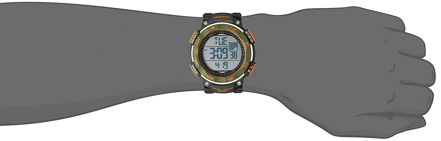 Armitron Sport Men 408377DGN Olive Green Accented Digital Chronograph Black Neoprene Strap Watch