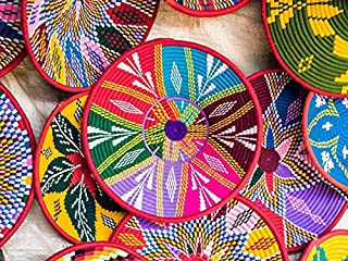 product image for Colorful Handmade Ethiopian Habesha Baskets 9005306 (12x18 Art Print, Wall Decor Travel Poster)
