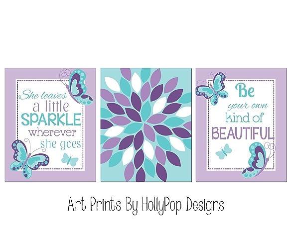 Cool Amazon Com Girls Room Decor Girl Art Prints Purple Aqua Download Free Architecture Designs Rallybritishbridgeorg