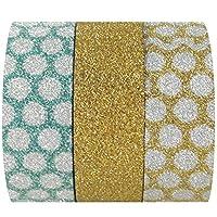 Allydrew Glamorous Glitter Bright Dots Japanese Washi Masking Tape, Set of 3,  5m L x 15mm W