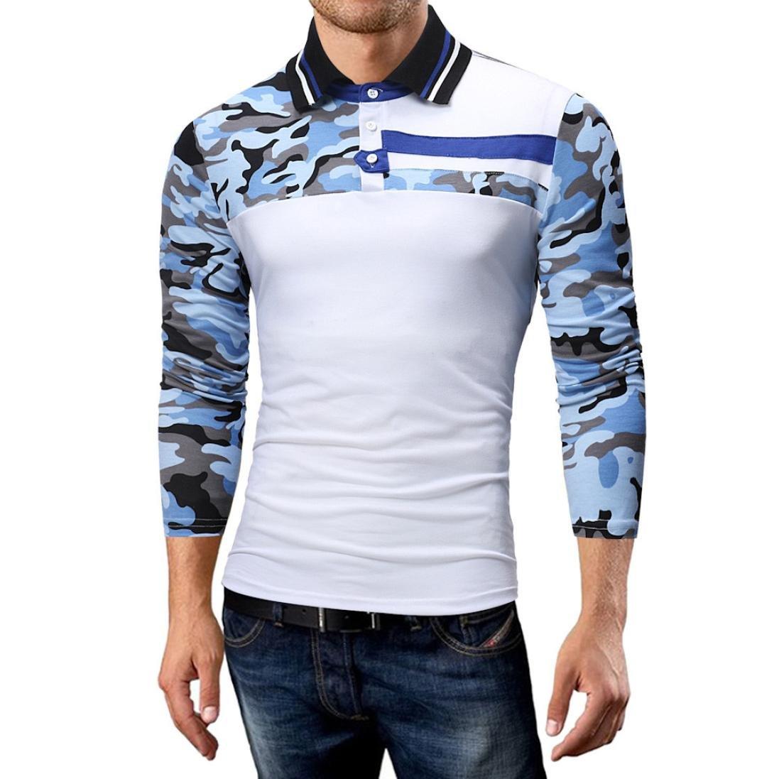Goddessvan 2018 Men's Autumn Casual Slim Long Sleeve Camouflage T Shirt Top Blouse(White,L)