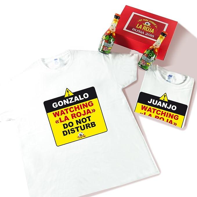 Packs de Dos Camisetas Personalizadas Watching La Roja + Dos Cervezas para Disfrutar del