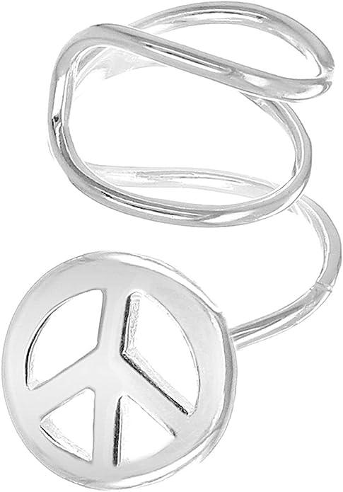 Sterling Silver Peace Sign Symbol Ear Cuff