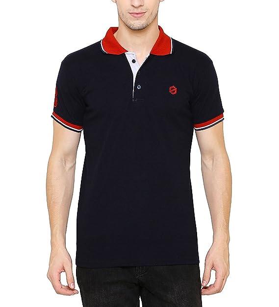 53beb83a39799 SCATCHITE Men s Blue Matte Polo Collar T-Shirt  Amazon.in  Clothing ...