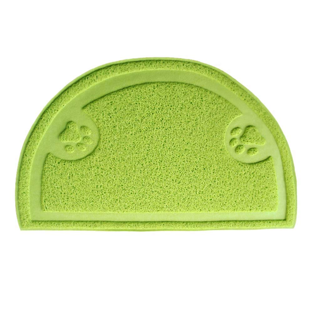 Green Pet Placemat Cat Litter Mat Doormat Dog Feeding Mat Kitty Litter Rug Large Pad Washable PVC Easy Clean Non-Slip Predect Floor Semicircle,Green