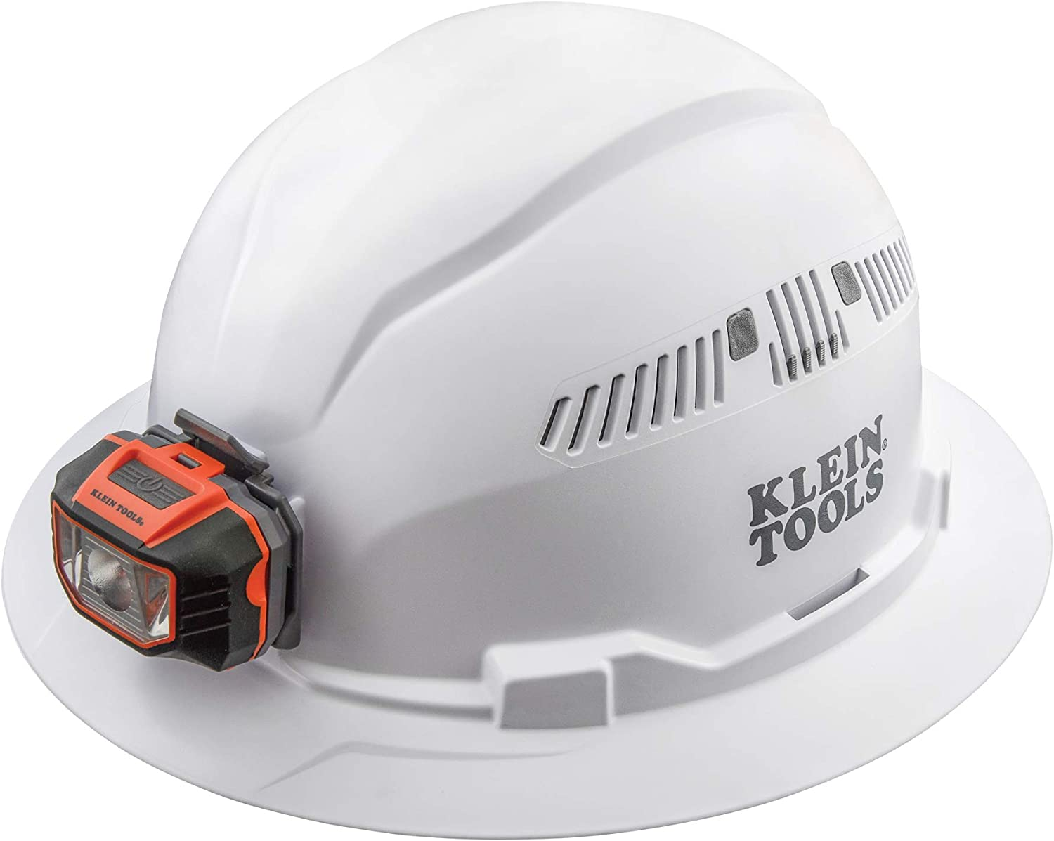 Klein Tools 60407 Hard Hat, Light, Vented Full Brim Style, Padded, Self-Wicking Odor-Resistant Sweatband, White - -