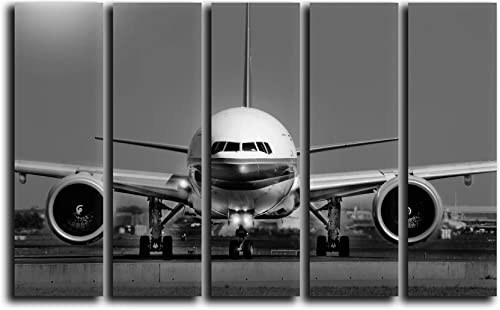 Big 5 Piece Jet Airplane Boeing 777 Wall Art Decor Picture Painting Poster Print on Canvas Panels Piece