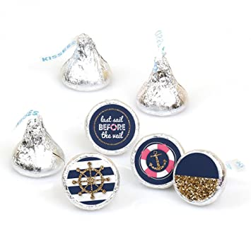 last sail before the veil nautical bridal shower bachelorette party round candy sticker favors