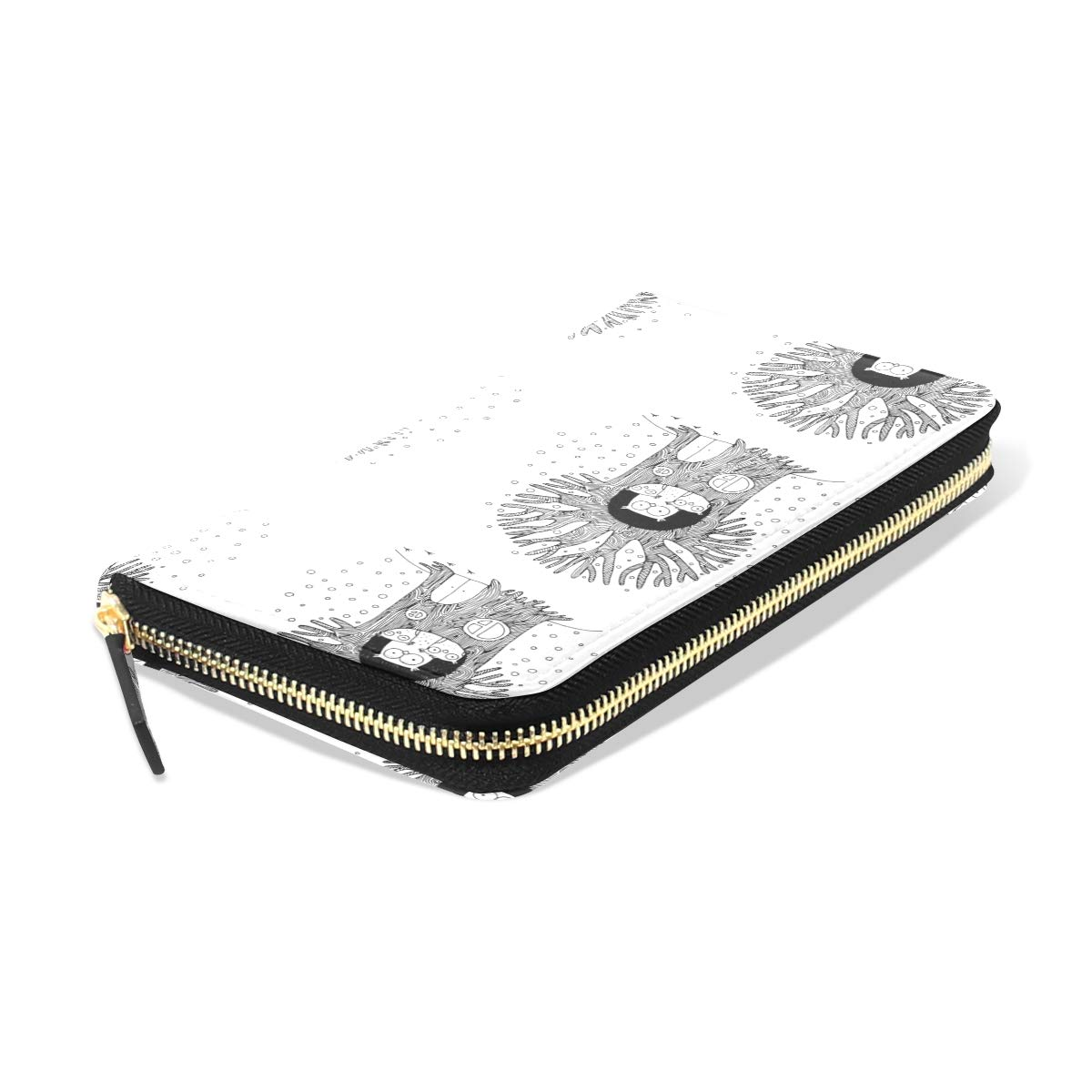 Women LeatherTree And Family Of Owls Winter Wallet Large Capacity Zipper Travel Wristlet Bags Clutch Cellphone Bag