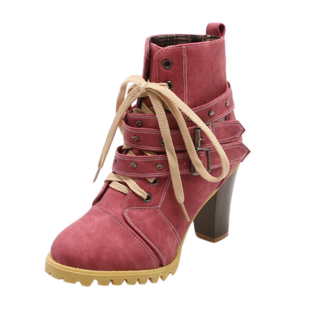 Realdo Clearance Womens Buckle Strap Bandage Thick Short Boots Shoes Leisure Ankle Booties