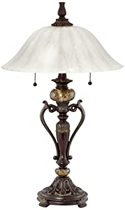 Amor Collection Glass Shade Table Lamp in Bronze