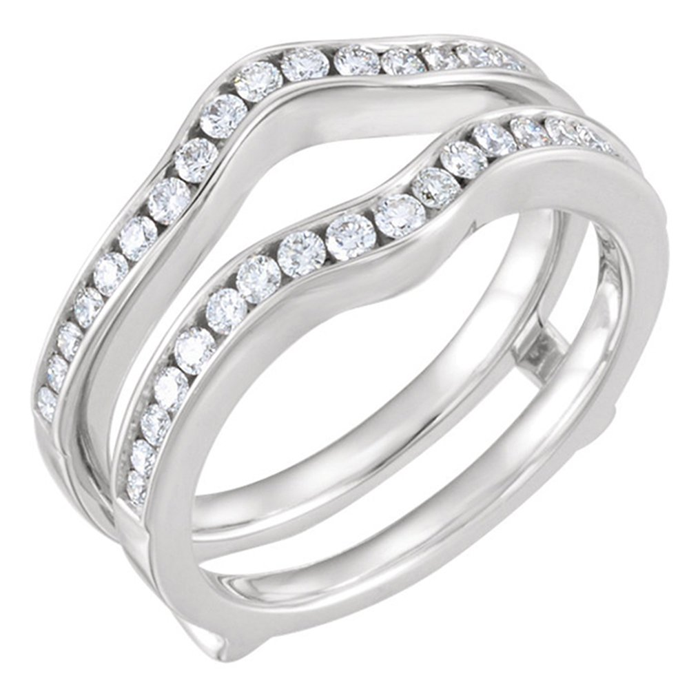 1/2ct 0.50ct Channel Set Solitaire Enhancer Simulated Lab Created Diamonds Ring Guard Wrap White Gold Plated Star Retail enhancer-152-$p
