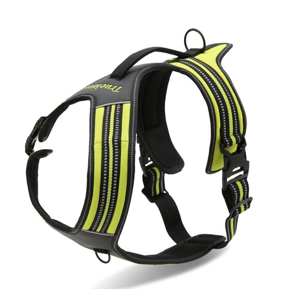 Kismaple Dauerhaft Einstellbarer 3M Streifen Reflektierendes Hundegeschirr Draussen Haustier Hundeweste Harness mit Griff Brustgurt für große / mittlere / kleine Hunde Grün)