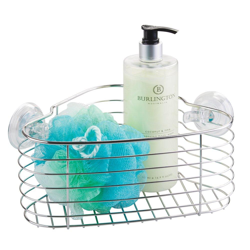 Amazon.com: mDesign Bathroom Shower Caddy Suction Basket for Shampoo ...