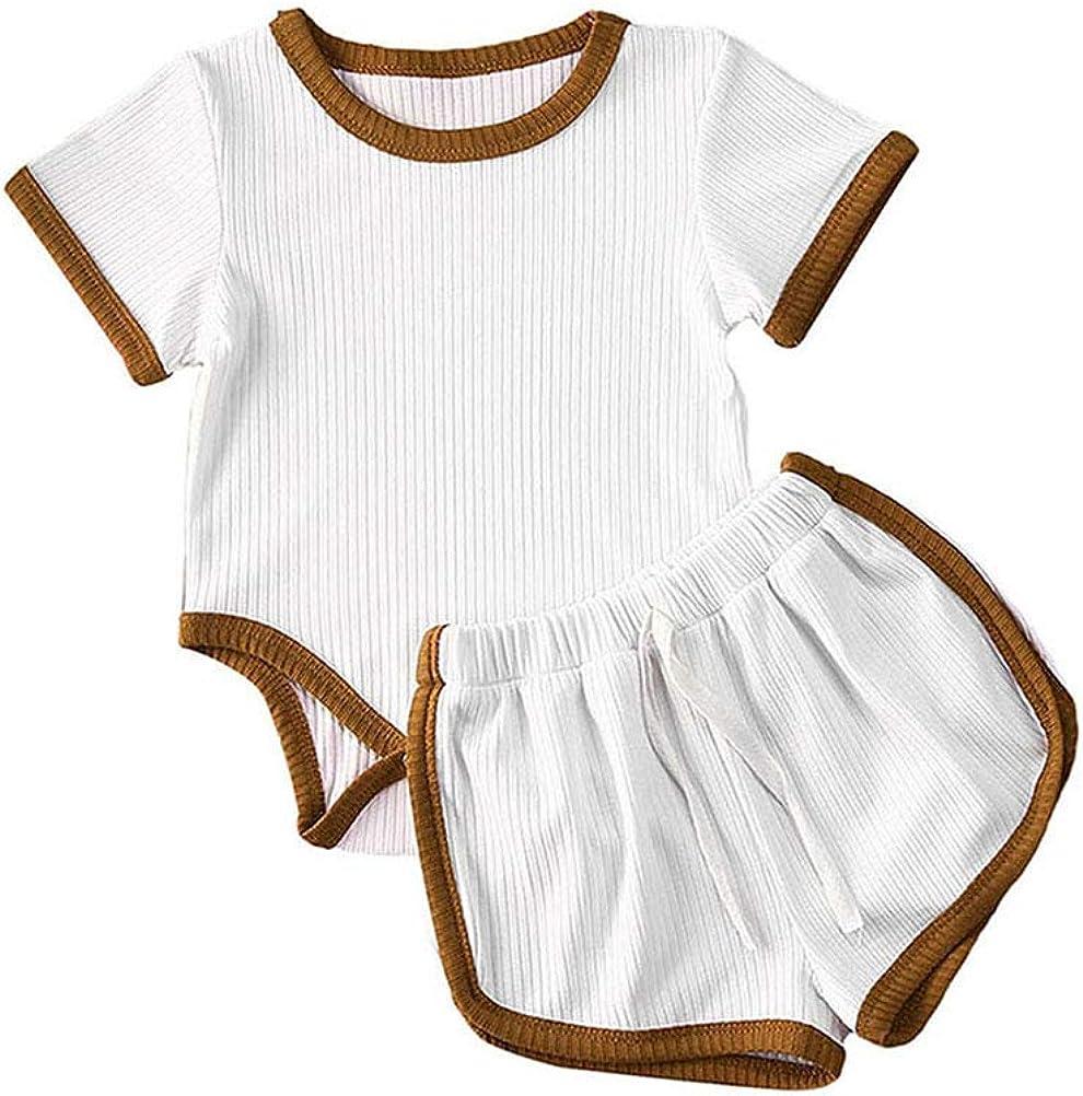 Infant Baby Girls Boys Ribbed Shorts Outfit Summer Tops Tshirt+Drawstring Shorts Cute Clothing Sets