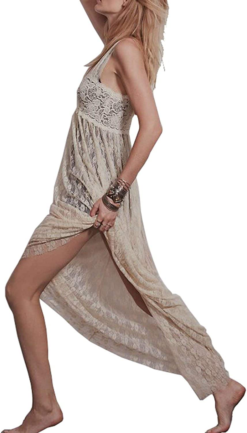 Vivilover Maxi Dresses for Women Lace Babydoll Nightwear Long Gown Lingerie Dress: Clothing