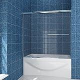 SUNNY SHOWER Model# B020. Frameless Bypass 2 Sliding Bathtub Shower Doors. 56'' - 60'' W, 1/4'' Clear Glass, Chrome Finish