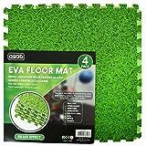 Interlocking EVA Foam Floor Mats And Edges - Playmat - Gym Tiles - Childrens Play Area Flooring Set - Grass - 1 Pack (4 Floor Mats)60x60cm