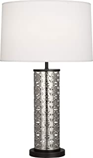 product image for Robert Abbey S527 Williamsburg Etoile - One Light Table Lamp, Antique Silver/Deep Patina Bronze Finish with Pearl Dupioni Fabric Shade